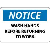 """Avis de NMC N43P signe de OSHA, lavez-vous les mains avant de retourner au travail, 7 """"X 10"""", blanc/bleu/noir"""