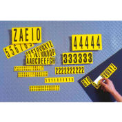 "NMC NPS14 Number Card 0-9, 10 Numbers/Card, 2""H, Yellow/Black, Pressure Sensitive Cloth"