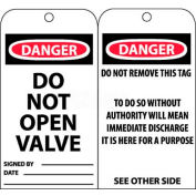 "NMC RPT18 Tags, Danger Do Not Open Valve, 6"" X 3"", White/Red/Black, 25/Pk"