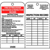 """NMC RPT26 Tags, Fire Extinguisher Recharge And Inspection Record, 6"""" X 3"""", White/Red/Black, 25/Pk"""