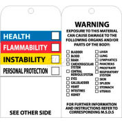 "NMC RPT76 Tags, Hazardous Communications Bar Tag, 6"" X 3"", White/Black, 25/Pk"