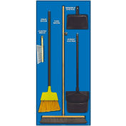 National Marker Janitorial Shadow Board Combo Kit, Blue on Black, Industrial Grade Aluminum- SBK101AL