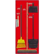National Marker Janitorial Shadow Board Combo Kit, Rouge sur blanc, Aluminium de qualité industrielle- SBK106AL