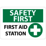 """NMC SF161RB OSHA Sign, Safety First - First Aid Station, 10"""" X 14"""", White/Green/Black"""