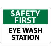 "NMC SF181RB OSHA Sign, Safety First - Eye Wash Station, 10"" X 14"", White/Green/Black"