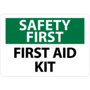 """NMC SF41RB OSHA Sign, Safety First - First Aid Kit, 10"""" X 14"""", White/Green/Black"""