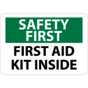 """NMC SF47P OSHA Sign, Safety First - First Aid Kit Inside, 7"""" X 10"""", White/Green/Black"""