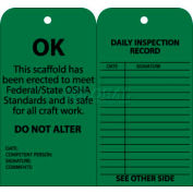 "NMC SPT3 Tags, Scaffold Inspection W/Grommet, 6"" X 3"", Green, 25/Pk"