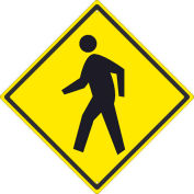 "NMC TM119J Traffic Sign - Pedestrian Crossing, Aluminum, 24"" x 24"""