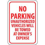 """Panneau de signalisation NMC TM12G, No garer des véhicules non autorisés sera remorqué, 18 """"X 12"""", blanc/rouge"""