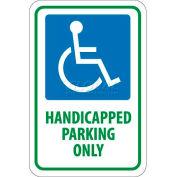 """NMC TM145J panneau de signalisation, handicapé stationnement seulement, 18 """"X 12"""", blanc/bleu/vert"""