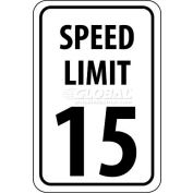 "NMC TM19G Traffic Sign, 15 MPH Speed Limit Sign, 18"" X 12"", White/Black"