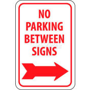 "NMC TM30G Traffic Sign, No Parking Between Signs W/Right Arrow, 18"" X 12"", White/Red"