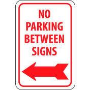 "NMC TM31G Traffic Sign, No Parking Between Signs W/Left Arrow, 18"" X 12"", White/Red"