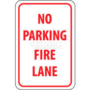 Panneau de signalisationNMC TM3G, « No Parking Fire Lane », 18 po x12 po, blanc/rouge