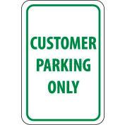 """Panneau de signalisation NMC TM51G, client de stationnement seulement, 18 """"X 12"""", blanc/vert"""