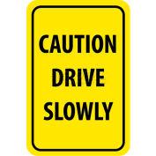 """NMC TM72H signe de la circulation, attention conduire lentement, 18 """"X 12"""", jaune/noir"""