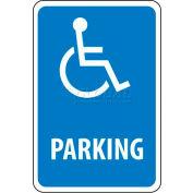 Panneau de signalisationNMC TM94G, « Parking » avec symbôle depersonne handicapée,18 po x12 po, blanc/bleu