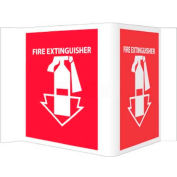"NMC VS1R Visi Sign W/Graphic, Fire Extinguisher, 5-3/4"" X 8-3/4"", White/Red"