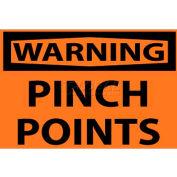 """NMC W149AP OSHA signe, avertissement Points de pincement, 3 """"X 5"""", Orange/Noir"""