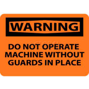 """NMC W261RB signe de OSHA, attention n'utilisez pas la Machine sans gardes, 10 """"X 14"""", Orange/Noir"""