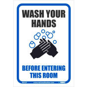"""Wash your Hands Before Entering this Room Sticker, 7"""" X 10"""", Vinyl Adhesive"""