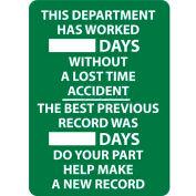 Écrire-sur le tableau de bord, ce département a travaillé des jours sans un Accident de perte de temps, 28 X 20, Wht/Grn
