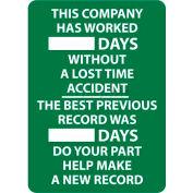 Écrire-sur le tableau de bord, cette société a travaillé des jours sans un Accident de perte de temps, 28 X 20, Wht/Grn