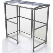 """No Butts 4-Sided Smoking Shelter SR1551-F-BLK - Freestanding - 7'W x 3'6""""D x 7'11""""H Clear Roof"""
