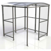 """No Butts 4-Sided Smoking Shelter SR1554-F-BLK - Freestanding - 7'W x 7'D x 7'11""""H Clear Roof"""