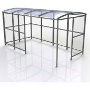 """No Butts 4-Sided Smoking Shelter SR1556-F-BLK - Freestanding - 13'9""""W x 7'D x 7'11""""H Clear Roof"""
