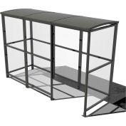 "No Butts 4-Sided Smoking Shelter SR1559-F-BLK - Freestanding - 10'4""W x 3'6""D x 7'11""H Aluminum Roof"