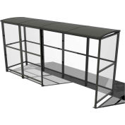 "No Butts 4-Sided Smoking Shelter SR1560-F-BLK - Freestanding - 13'9""W x 3'6""D x 7'11""H Aluminum Roof"