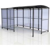 "No Butts 4-Sided Smoking Shelter SR1563-F-BLK - Freestanding - 13'9""W x 7'D x 7'11""H Aluminum Roof"