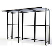 """No Butts Open Front Smoking Shelter SR1602-F-BLK - Freestanding - 10'4""""W x 3'6""""D x 7'11""""H Clear Roof"""