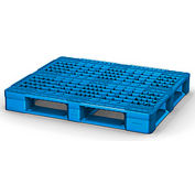 Rackable Plastic Pallet Blue 48x40 -Open Deck, FDA Grade, 6 Runner, Fork Cap. 4400 Lbs.