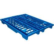 Palette en plastique empilableEco Pallet Rackable, bleu,48x40, calibre FDA -4 glissière, fource d'une capacité de 3100 lb, qté par paquet : 5