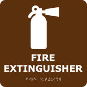 Graphic Braille Sign - Fire Extinguisher - Brown