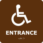 Graphic Braille Sign - Entrance - Brown