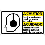 Bilingual Plastic Sign - Caution Hearing Protection Required Beyond This Point