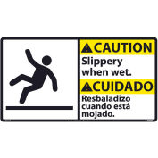 Bilingual Vinyl Sign - Caution Slippery When Wet