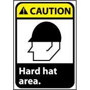 Caution Sign 10x7 Vinyl - Hard Hat Area