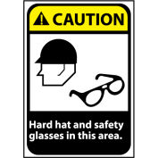 Caution Sign 14x10 Rigid Plastic - Hard Hat and Safety Glasses Required