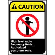 Attention signe 14 x 10 en aluminium - haut niveau de fréquence Radio