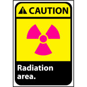 Attention signe 14 x 10 en aluminium - zone de rayonnement