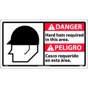 Bilingual Plastic Sign - Danger Hard Hats Required In This Area