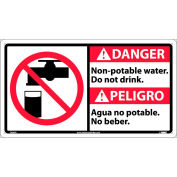 Bilingual Plastic Sign - Danger Non-Potable Water Do Not Drink