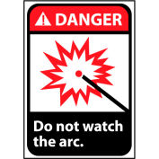 Signe de danger vinyle 10 x 7 - ne pas regarder l'Arc