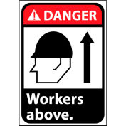 Danger Sign 10x7 Vinyl - Workers Above