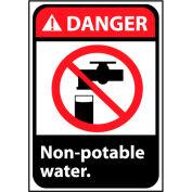 Danger signe 14 x 10 en aluminium - eau Non Potable